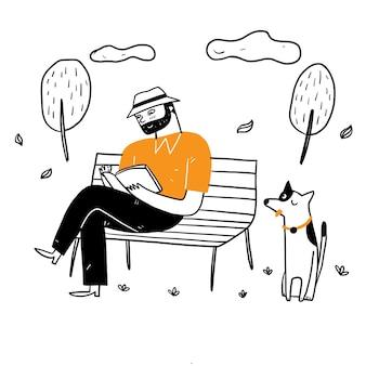 Der alte mann sitzt auf dem parkstuhl und liest entspannt mit seinem hund ein buch. handzeichnung vektor-illustration gekritzel-stil