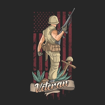 Der amerikanische soldat mit waffen begrüßt den sieg