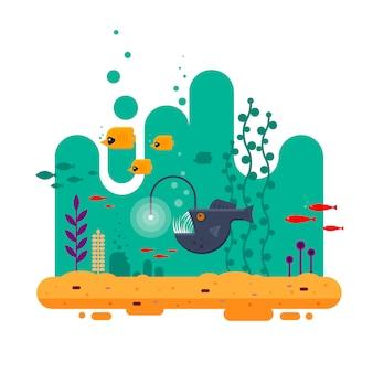 Der anglerfisch schwimmt in der tiefe unter anderen fischen, der farbenfrohen unterwasserwelt mit meerholz und sandflacher illustration