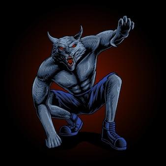 Der angriffs-werwolf-illustrationsvektor