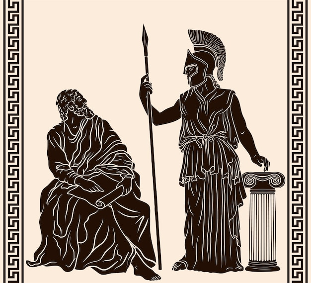 Der antike griechische philosoph sitzt mit papyrus in den händen in der nähe von pallas athena