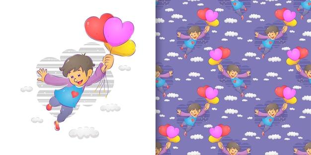 Der aquarellmustersatz des jungen, der die bunten luftballons fliegt