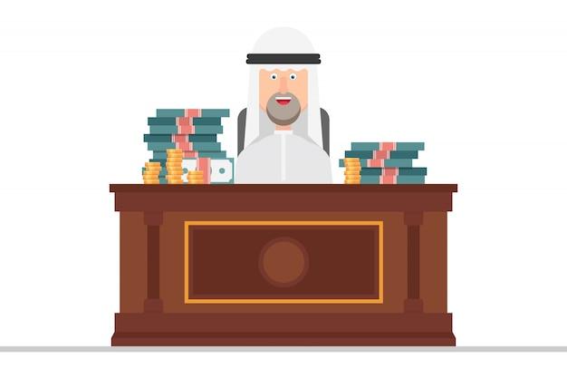 Der arabische geschäftsmann sitzt auf einem stuhl in einem büro voller geld