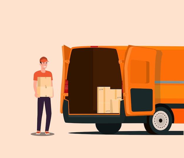 Der arbeiter lädt kisten in einen transporter.