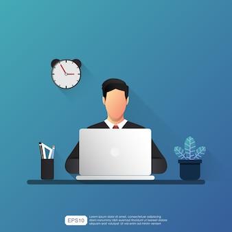Der arbeitgeber arbeitet an seinem laptop-konzept