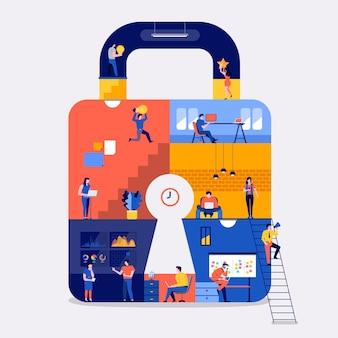Der arbeitsbereich des flachen designkonzepts der illustrationen schafft internet-sicherheit der online-plattform