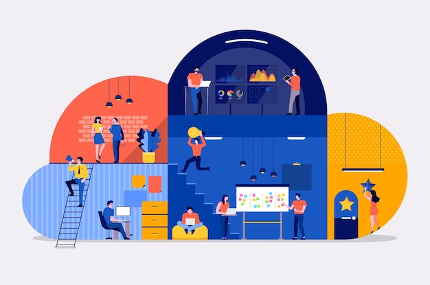 Der arbeitsbereich des flachen entwurfskonzepts der illustrationen schafft einen cloud-service