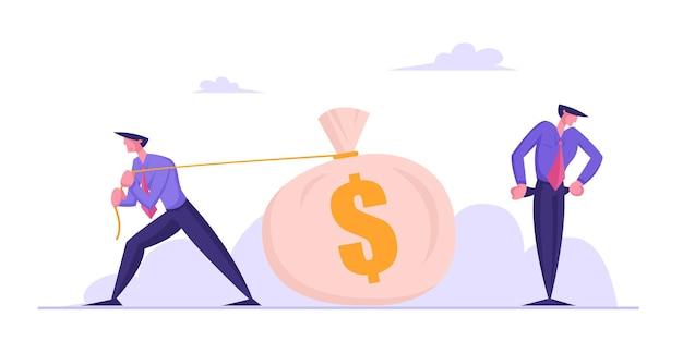 Der arme geschäftsmann steht mit leeren taschen, während sein gegner einen riesigen sack voller geld zieht