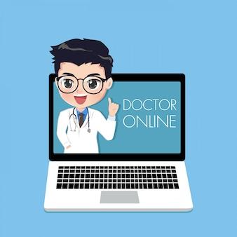 Der arzt berät patienten über online-kanäle oder soziale medien mit einer jungen frau, die vom laptopbildschirm auftaucht.