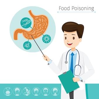 Der arzt beschreibt die ursache von magenschmerzen und lebensmittelvergiftungen
