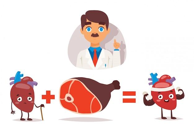 Der arzt empfiehlt, fleisch für ein gesundes herz zu essen