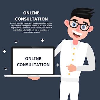 Der arzt führt das notizbuch, in dem eine online-konsultation angezeigt wird.