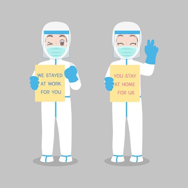 Der arzt im persönlichen schutzanzug trägt eine medizinische schutzmaske, um viren vorzubeugen
