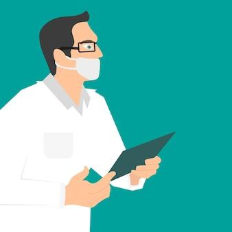 Der arzt in der maske auf grünem hintergrund. doktor hält einen ordner in seinen händen. vektor-illustration