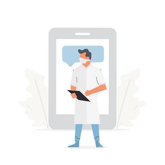 Der arzt steht vor einem großen telefon medizinische online-beratung und gesundheits-app-konzept