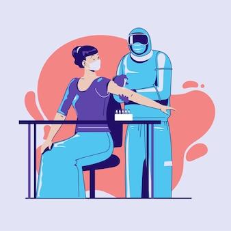 Der arzt trägt einen schutzanzug, der der weiblichen patientin einen virusimpfstoff injiziert