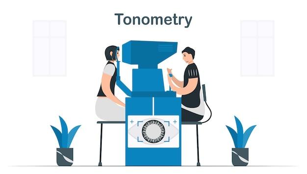 Der arzt verwendet die tonometrie, um den augeninnendruck und den flüssigkeitsdruck in den augen zu bestimmen