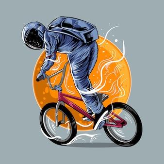 Der astronaut, der bmx vektorillustrationsgrafik mit mond reitet, lokalisierte helles farbdesign