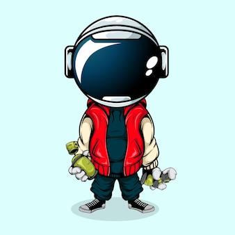 Der astronaut mit städtischem stil und sprühdose