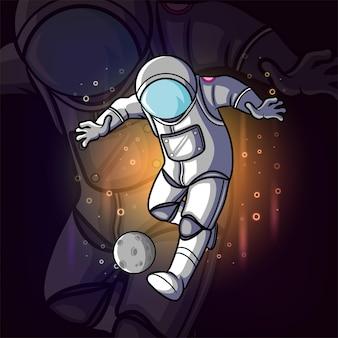 Der astronaut tritt gegen die asteroiden der illustration