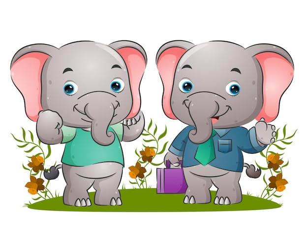 Der aufgeräumte elefant kommt mit der guten t-shirt-illustration aus dem büro