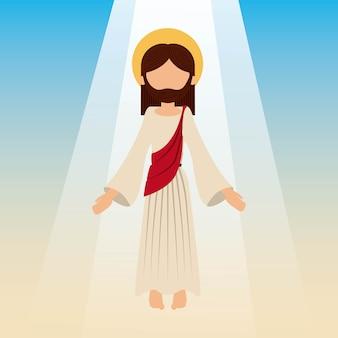 Der aufstieg von jesus christus mit blauem himmel