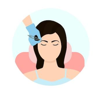 Der augenbrauenmeister arbeitet in der körperpflege der schönheitsindustrie