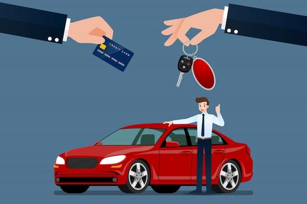 Der autohändler verkauft ein auto.