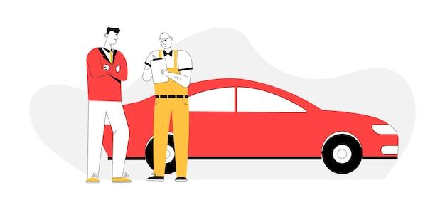 Der automechaniker erstellt eine vereinbarung und stellt den kunden im autoservice in rechnung.