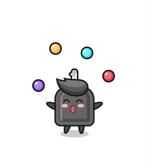 Der autoschlüssel-zirkus-cartoon, der mit einem ball jongliert, niedliches design für t-shirt, aufkleber, logo-element