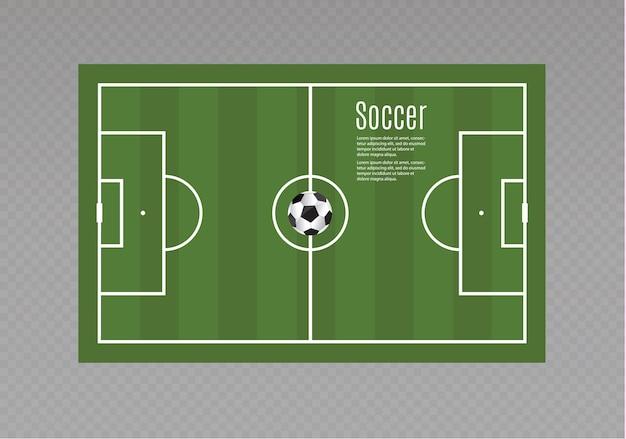 Der ball liegt auf dem rasen eines fußballspiels