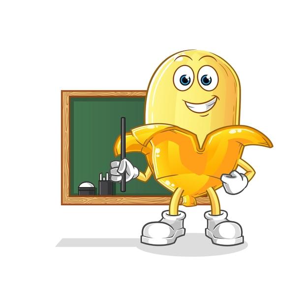 Der bananenlehrer. zeichentrickfigur