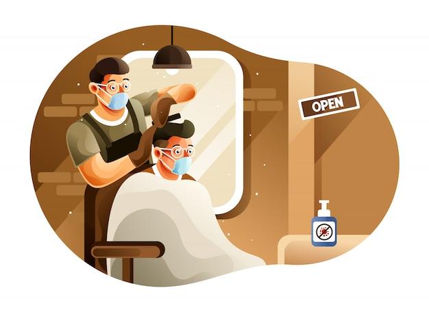 Der barbershop ist während einer pandemie geöffnet