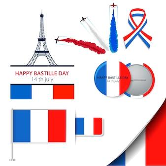 Der bastille-tag vierzehn juli oder ein anderer französischer feiertag