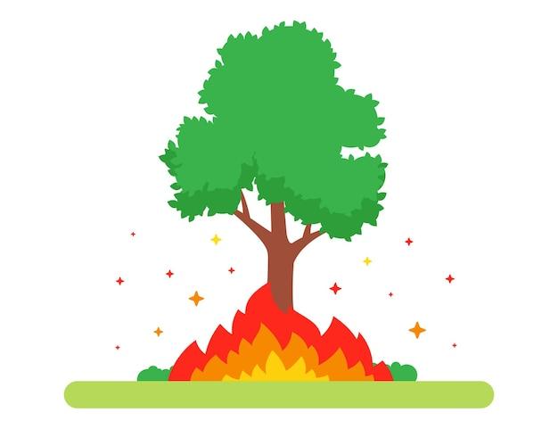 Der baum brennt in der natur. großes feuer. flache vektorillustration.