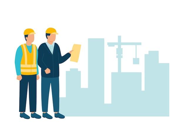 Der bauunternehmer des arbeiters kommuniziert mit dem architekten der bauindustrie im helm, um ein neues projekt zu besprechen