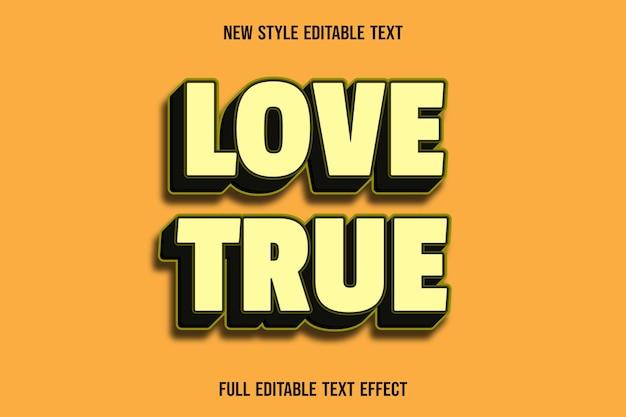 Der bearbeitbare texteffekt liebt die farben gelb und schwarz