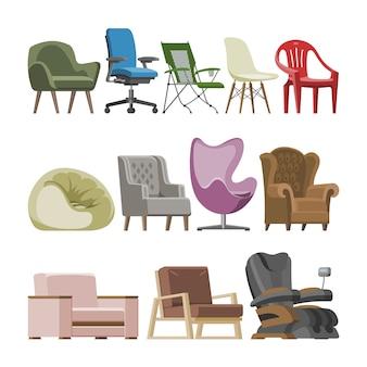 Der bequeme möbelsessel und sitzpuff des stuhlvektors entwerfen im innenillustrationssatz der möblierten wohnung des geschäftsbürostuhls oder -lehnstuhls lokalisiert.