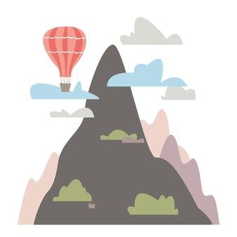 Der berg ist umgeben von wolkenbüschen und hügeln ballon-vektor-illustration im flachen stil