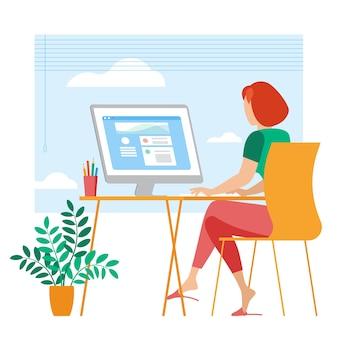 Der beste ort für fernarbeit. junge frau arbeitet ausgelagert. lat design illustration, bereit zu animationskonzept für website, präsentation, mobile app.