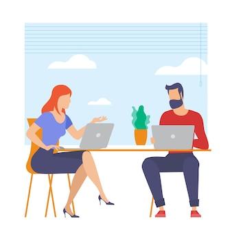 Der beste ort für fernarbeit. junger mann und frau arbeiten ausgelagert. lat design illustration, bereit zu animationskonzept für website, präsentation, mobile app.