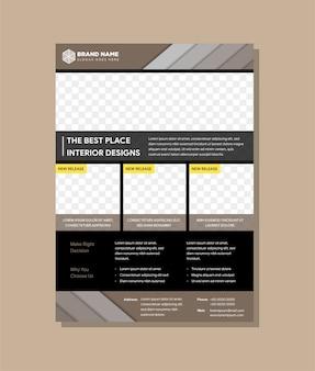 Der beste ort innenarchitektur flyer vorlage Premium Vektoren
