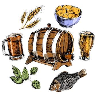 Der bierelementsatz mit gemälztem gerstenkorn des eichenfass-hopfens und bunten piktogrammen der snäcke lokalisierte vektorillustration