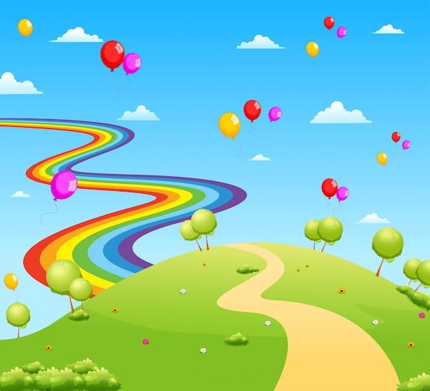 Der blick auf das grüne feld mit einigen bäumen und ballon