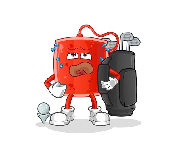 Der blutbeutel mit golfausrüstung. cartoon maskottchen