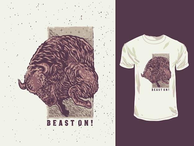Der böse bison mit einer handgezeichneten illustration der weinlesefarben
