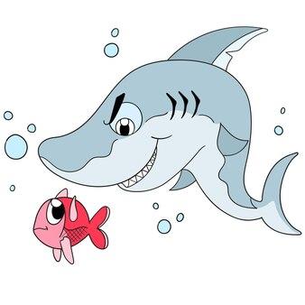 Der böse hai beäugt den kleinen fisch. cartoon illustration süßer kleiner aufkleber