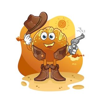 Der brotcowboy mit gewehrkarikaturmaskottchenmaskottchen