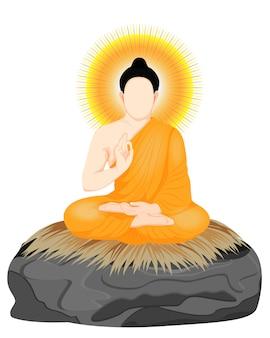 Der buddha im cartoon-stil, isoliert
