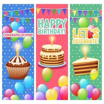 Der bunte vertikale hintergrund der glückwünsche und der feiern, der mit ballonkuchen und alles gute zum geburtstag text eingestellt wurde, lokalisierte vektorillustration